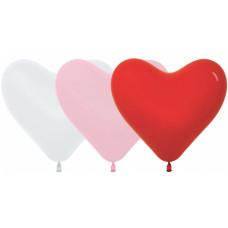 Латексный воздушный шар-сердце (12''/30 см) Белый /Розовый /Красный, пастель, с гелием