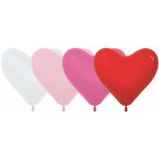 Латексный воздушный шар-сердце (16''/41 см) Белый /Розовый /Фуше /Красный, пастель, с гелием